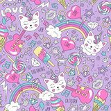 Cute kitten unicorn pattern on a lilac background. Colorful trendy seamless pattern. Fashion illustration drawing in modern style stock illustration