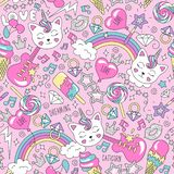 Cute kitten unicorn pattern on a pink background. Colorful trendy seamless pattern. Fashion illustration drawing in modern style royalty free illustration