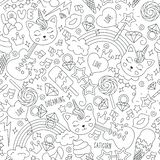 Cute kitten unicorn pattern on a white background. Black and white outline seamless pattern. Drawing for kids clothes, t-shirts, vector illustration