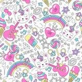 Cute kitten unicorn pattern on a white background. Colorful trendy seamless pattern. Fashion illustration drawing in modern style stock illustration