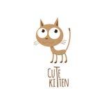 Cute kitten. Vector card with a lovely cute cartoon kitten Stock Photos