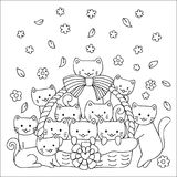 Cute kittens in the basket design for printed tee,cards,invitations and coloring book page for kids. Vector illustration stock illustration