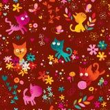 Cute kittens, butterflies, flowers seamless pattern Stock Images