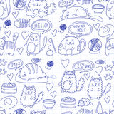 Cute kittens Cat icons Kids drawing Children drawing Doodle domestic cats. Cute kittens Cat icons Kids drawing Children drawing Doodle domestic cat for Stock Photography