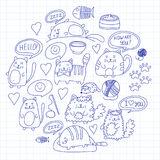 Cute kittens Cat icons Kids drawing Children drawing Doodle domestic cats for veterinary, cattery, zoo, kindergarten Royalty Free Stock Image