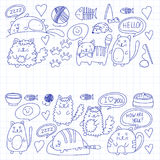 Cute kittens Cat icons Kids drawing Children drawing Doodle domestic cats for veterinary, cattery, zoo, kindergarten Stock Image