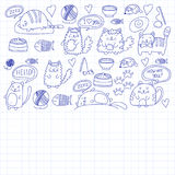 Cute kittens Cat icons Kids drawing Children drawing Doodle domestic cats. Cute kittens Cat icons Kids drawing Children drawing Doodle domestic cat for Royalty Free Stock Photos