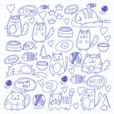 Cute kittens Cat icons Kids drawing Children drawing Doodle domestic cats. Cute kittens Cat icons Kids drawing Children drawing Doodle domestic cat for Royalty Free Stock Image