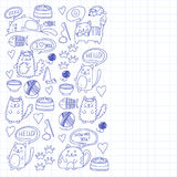 Cute kittens Cat icons Kids drawing Children drawing Doodle domestic cats. Cute kittens Cat icons Kids drawing Children drawing Doodle domestic cat for Royalty Free Stock Photography