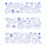 Cute kittens Cat icons Kids drawing Children drawing Doodle domestic cats. Cute kittens Cat icons Kids drawing Children drawing Doodle domestic cat for Royalty Free Stock Photo