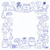 Cute kittens Cat icons Kids drawing Children drawing Doodle domestic cats for veterinary, cattery, zoo, kindergarten Royalty Free Stock Images
