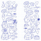 Cute kittens Cat icons Kids drawing Children drawing Doodle domestic cats for veterinary, cattery, zoo, kindergarten Stock Images
