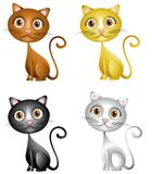 Cute Kittens Clip Art. An illustration featuring your choice of cute kittens in brown, gold, black and white