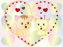Cute Kittens Love wallpaper Royalty Free Stock Photo