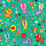 Cute kittens pattern Stock Photography