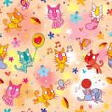 Cute kittens seamless pattern. Cute kittens playing seamless pattern Stock Photos