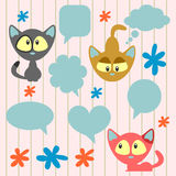 Cute kittens and speech bubbles Stock Images