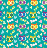 Cute kittens turquoise vector pattern Royalty Free Stock Photography