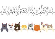 Cute kitties border set. With colors and without colors, monochrome line art vector illustration