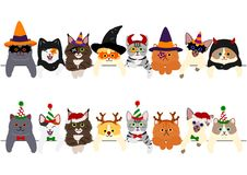 Cute kitties border set, with Halloween costumes and with Christmas costumes.  vector illustration