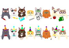Cute kitties border set with school items and with party hats and ties. Cute kitties border set, with school items and with party hats and ties, for birthday or vector illustration