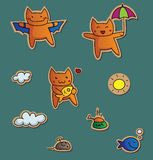 Cute kitties stickers Stock Image