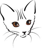 Cute kitty. Vector cute kitty artwork illustration black scetch Royalty Free Stock Images