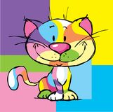 Cute Kitty Cartoon Colorful Cat Pop Art Design Frame - vector. Illustration stock illustration