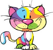 Cute Kitty Cartoon Colorful Pop Art Design - vector illustration Royalty Free Stock Photo