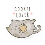 Cute kitty with cookie. Vector hand drawn cartoon illustration royalty free illustration
