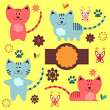 Cute kitty elements Royalty Free Stock Photos