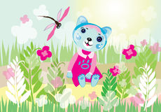 Cute kitty in the garden. Illustration of little cute kitty in pink dress sitting and smiling in a beautiful garden with grass and flowers Stock Photography
