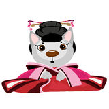 Cute kitty geisha on white background, anime Stock Images