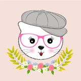 Cute kitty girl with flowers. Greeting card. Illustration for print on t-shirt Royalty Free Stock Photography