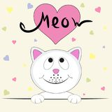 Cute kitty girl saying Meow.  Greeting card. Cute kitty girl saying Meow. Graphics for t-shirts. Greeting card. Vector illustration Royalty Free Stock Photo