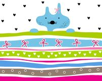 Cute kitty girl striped background with hearts and ribbons Stock Photos