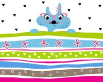 Cute kitty girl wearing glasses striped background with hearts and ribbons Stock Photo