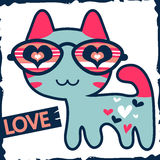 Cute kitty in glasses. Romantic illustration of cute kitty in glasses vector illustration