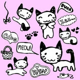 Cute kitty hand drawn set royalty free illustration