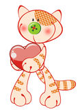 Cute kitty with heart Royalty Free Stock Image