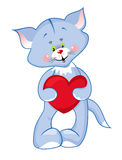 Cute kitty with heart Royalty Free Stock Photos