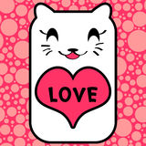 Cute kitty with heart Royalty Free Stock Images