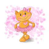 Cute Kitty with hearts. Vector illustration. Cute Kitty with hearts cartoon. Vector illustration Royalty Free Stock Images