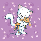 Cute kitty hold mouse. On violet background Royalty Free Stock Photography