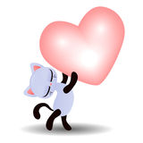 Cute kitty holding a heart Stock Photo