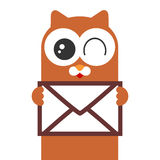 Cute kitty holding a letter Stock Image