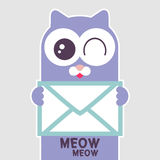 Cute kitty holding a letter Royalty Free Stock Image