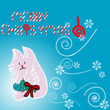 Cute kitty illustration for Christmas. With candies on a blue background Royalty Free Stock Photo
