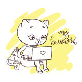 Cute kitty with laptop. Inscription: my homework. Hand-drawn con Stock Photo