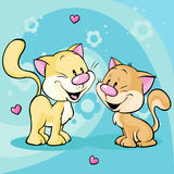 Cute kitty in love on abstract background Royalty Free Stock Images